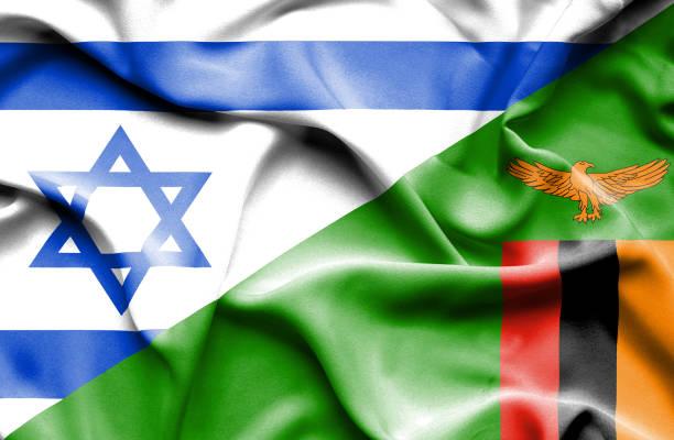 Waving flag of Zimbabwe and Israel vector art illustration