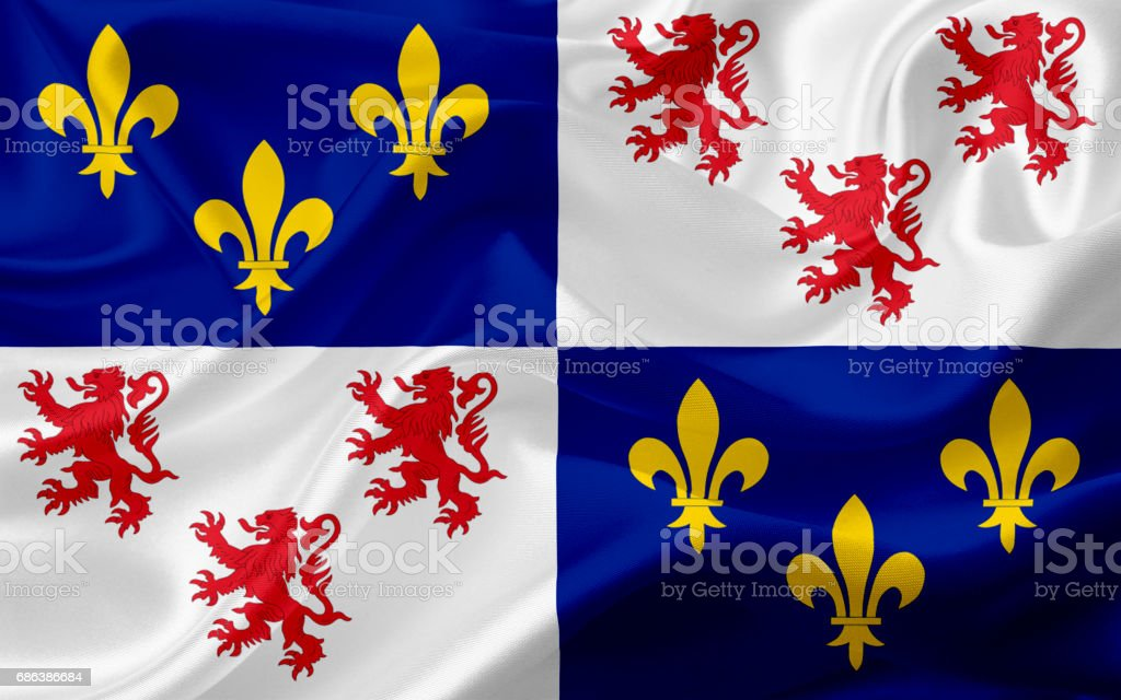 Waving Picardie flag, France with fabric texture vector art illustration