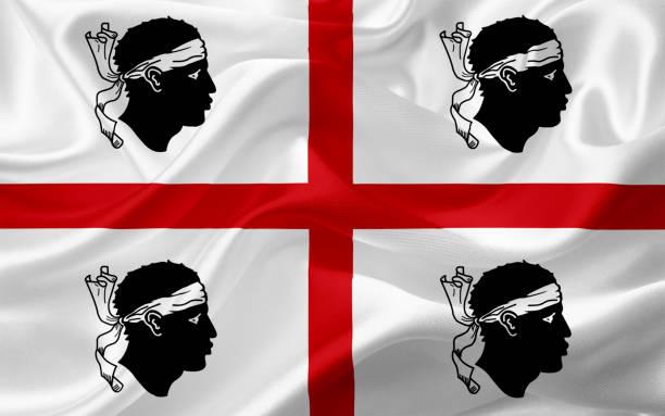 illustrazioni stock, clip art, cartoni animati e icone di tendenza di waving sardinia flag, italy with fabric texture - sardegna