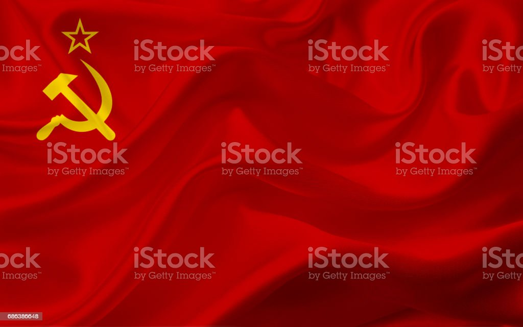 Waving Soviet Union flag with fabric texture vector art illustration