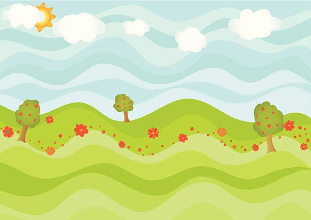 Wavy sunny day vector art illustration