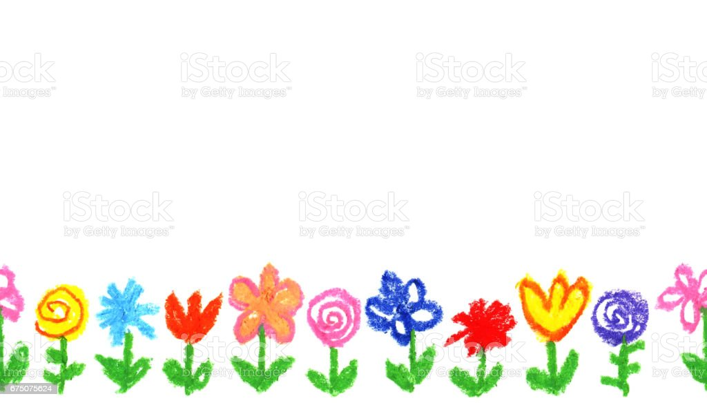 Wax crayon like kid`s drawn colorful flowers white. like child`s drawn pastel chalk blooming flowers set. Cute of kid`s like painting spring flowering meadow. vector art illustration