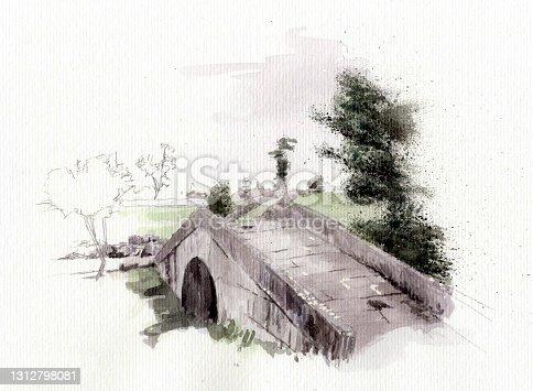 istock Way of Saint James in Galicia, Spain. Detail of Leboreiro's bridge. 1312798081