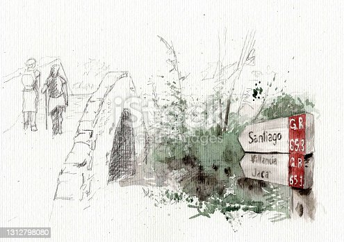 istock Way of Saint James in Galicia, Spain. 1312798080