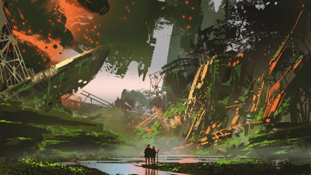 we arrived in overgrown city vector art illustration