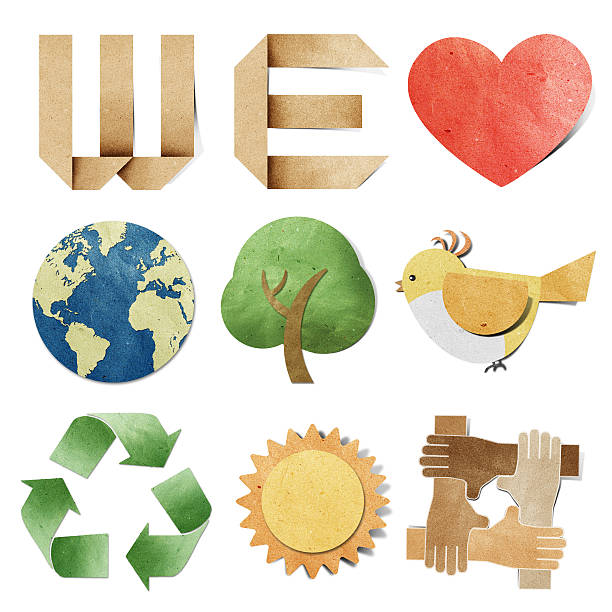 bildbanksillustrationer, clip art samt tecknat material och ikoner med we love tag recycled paper craft - recycling heart