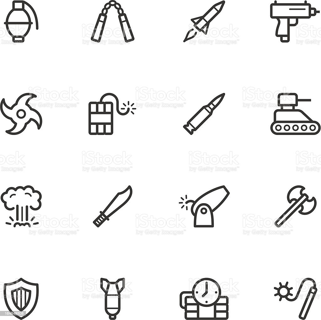 Weapon Icons vector art illustration