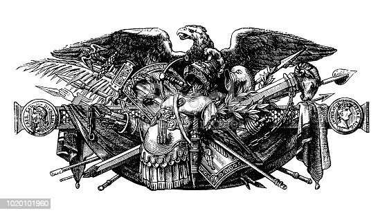 Illustration of   weapon of the  Roman Imperial near the eagle