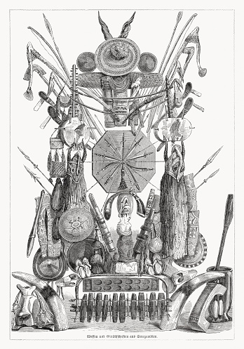 Weapons and cultural objects from West Africa, woodcut published 1868