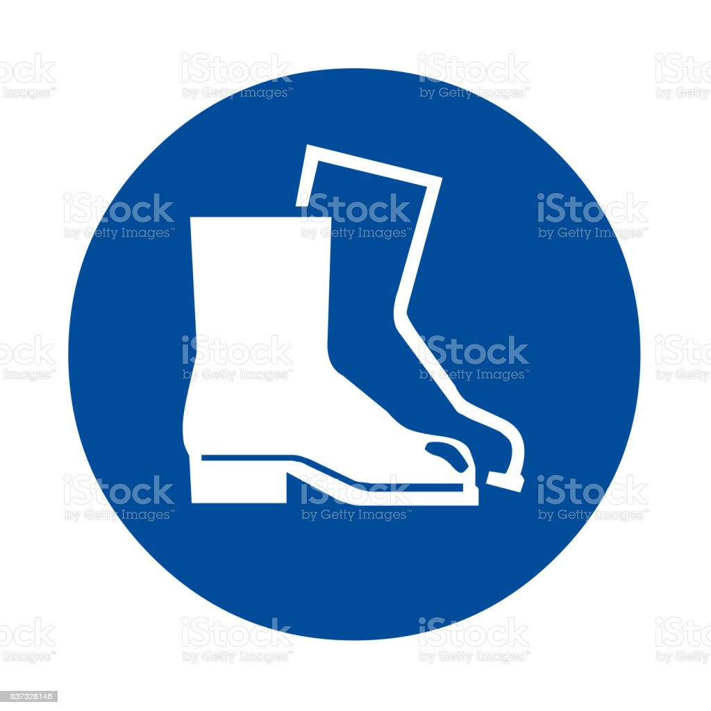 Wear foot protection safety sign vector art illustration