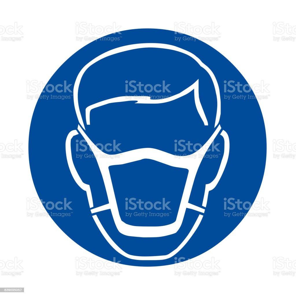 Wear mask safety sign vector art illustration