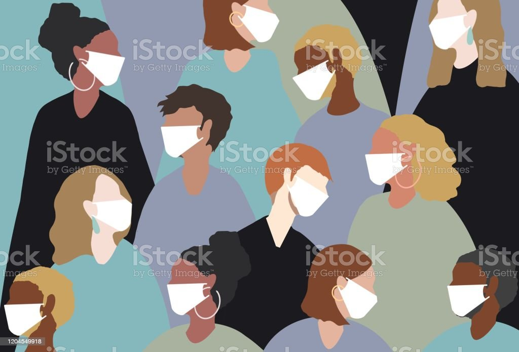 Wearing a medical face mask for winter viruses winter, virus, coronavirus, medical mask, face mask, china virus, group, people, women, man, sick, heat, people, hot Adult stock illustration