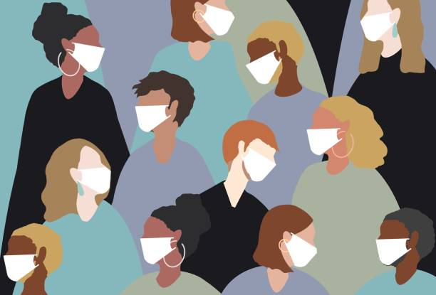 wearing a medical face mask for winter viruses - covid stock illustrations