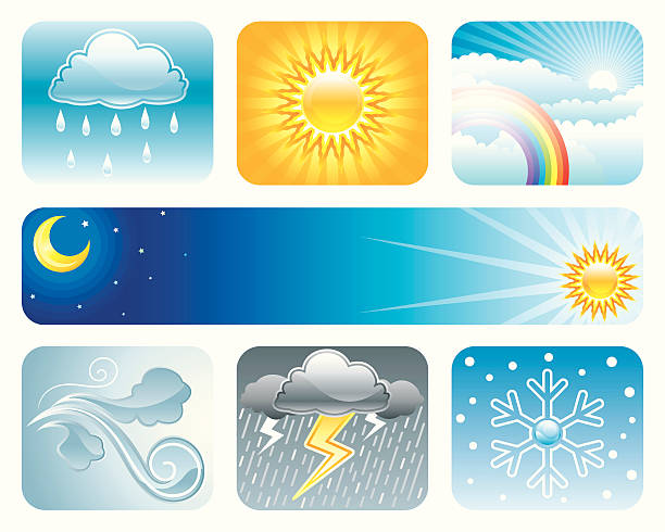 погода условиях - four seasons stock illustrations