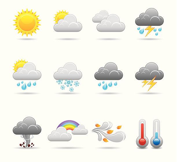 stockillustraties, clipart, cartoons en iconen met weather icon set | elegant series - regen zon