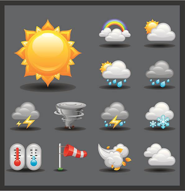 stockillustraties, clipart, cartoons en iconen met weather icon set | shiny series / dark - regen zon