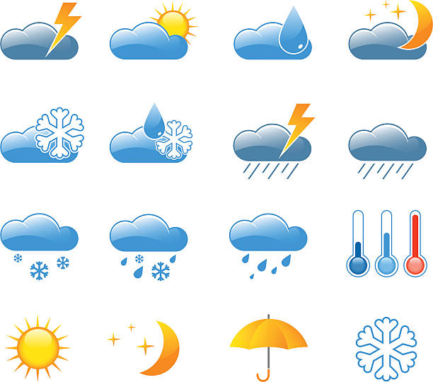 Weather icons A set of 16 colored weather icons forked lightning stock illustrations