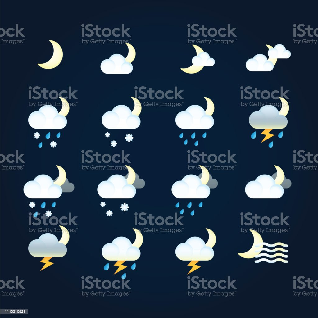 Weather icons sun and clouds in night sky, rain with snow, thunder...