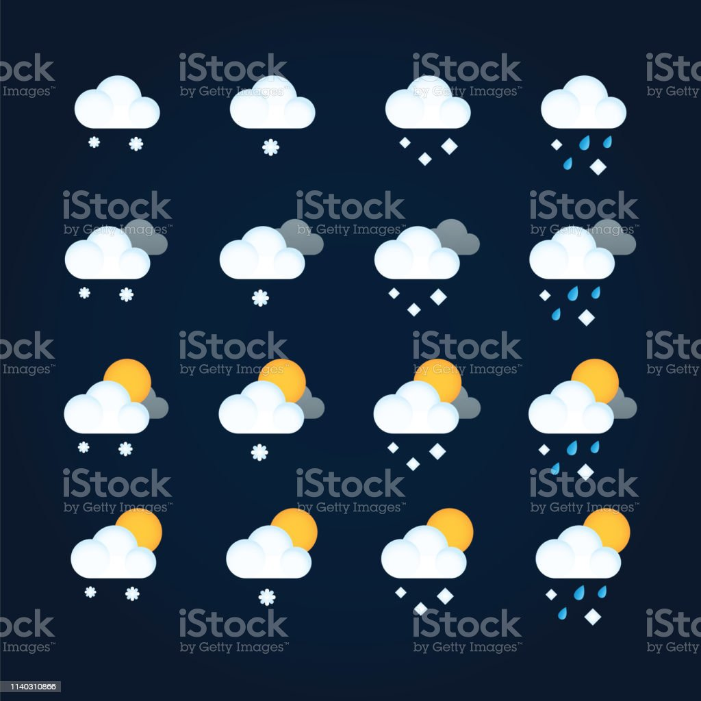 Weather icons sun and clouds in summer sky, rain with snow in winter...