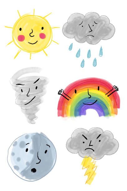 Weather icons with faces drawing vector art illustration