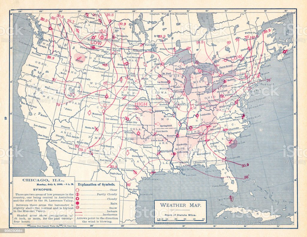 Weather Map Of United States 1895 Stock Illustration - Download ...