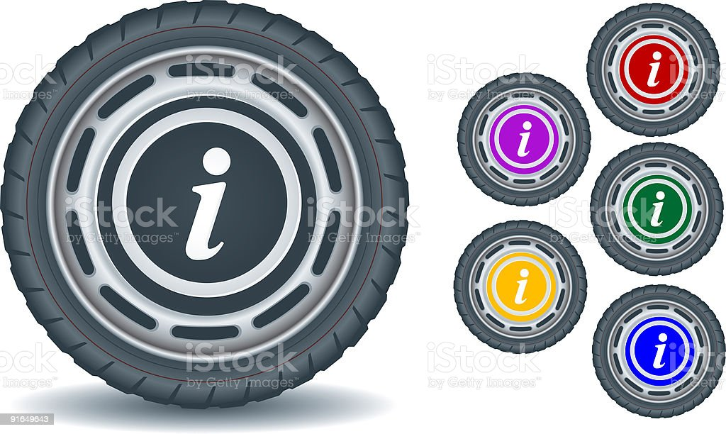 Web icon information sign on the tire vector art illustration