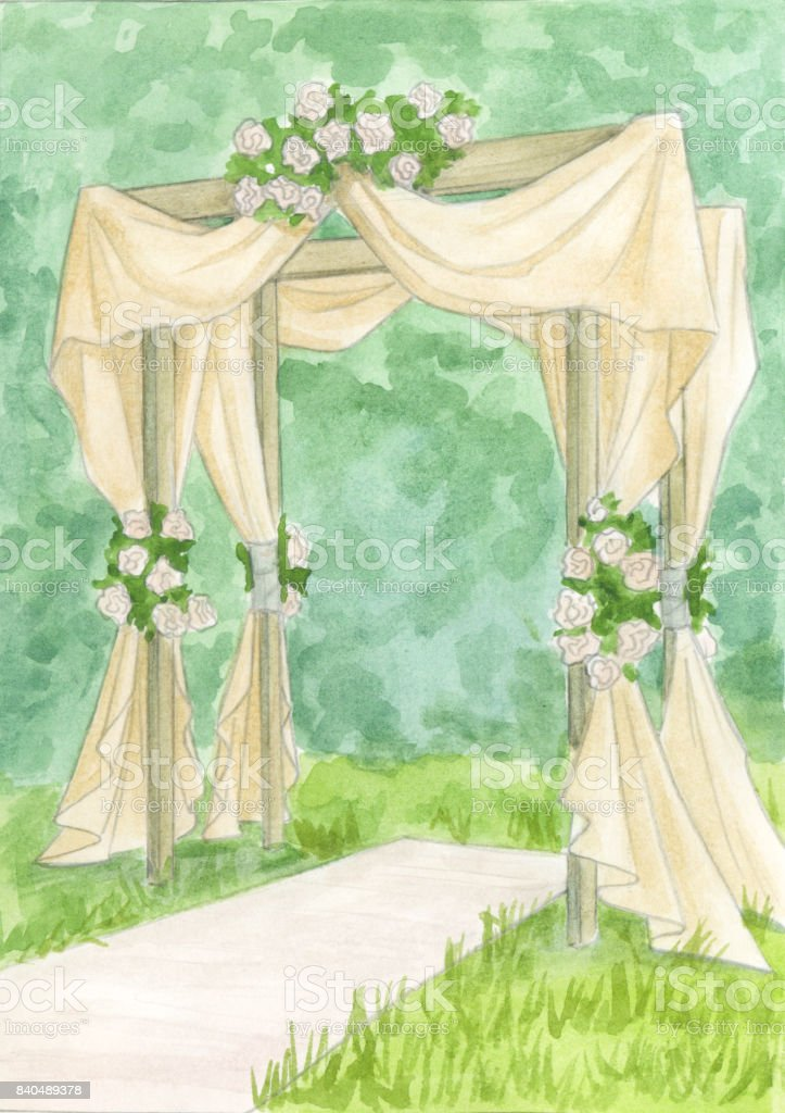 Wedding arch. Watercolor sketch vector art illustration