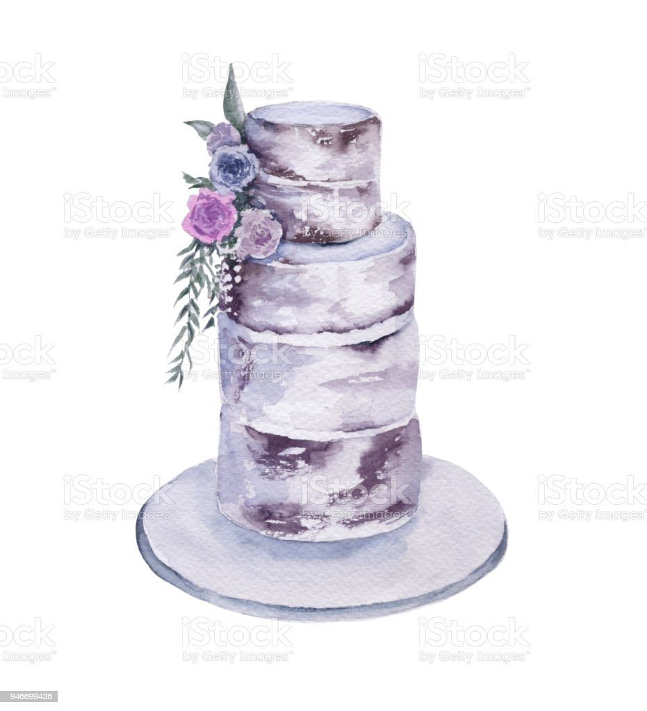 Wedding cake. Isolated on white background. vector art illustration