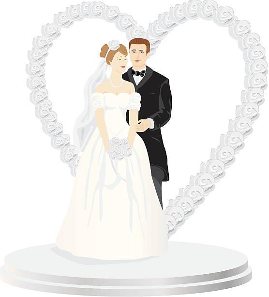 Wedding Cake Topper vector art illustration