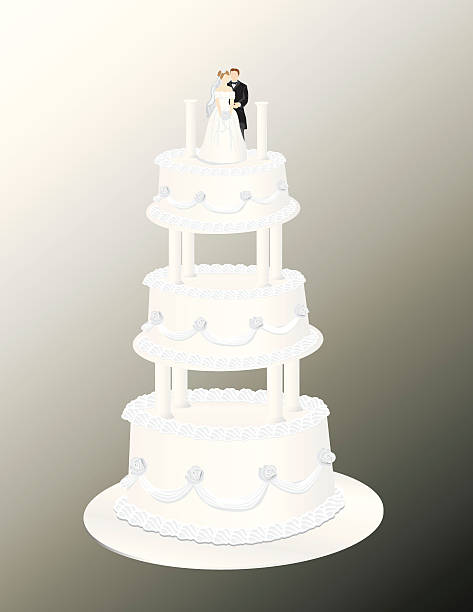 Wedding Cake with Three tiers, bride and groom. vector art illustration