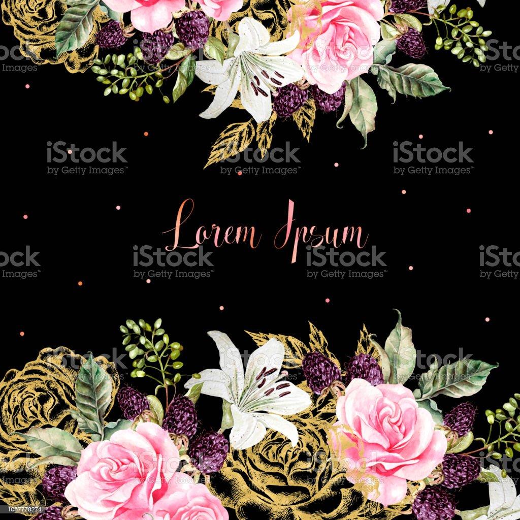 Hochzeitskarten Mit Goldenen Grafik Und Aquarell Blumen Rose Lilie