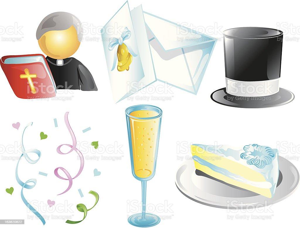 Wedding Design icons royalty-free stock vector art
