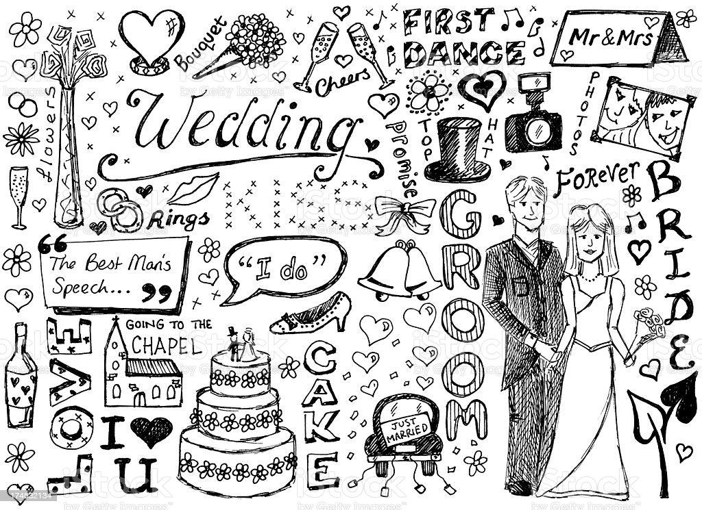 Hochzeit und Kritzeleien – Vektorgrafik