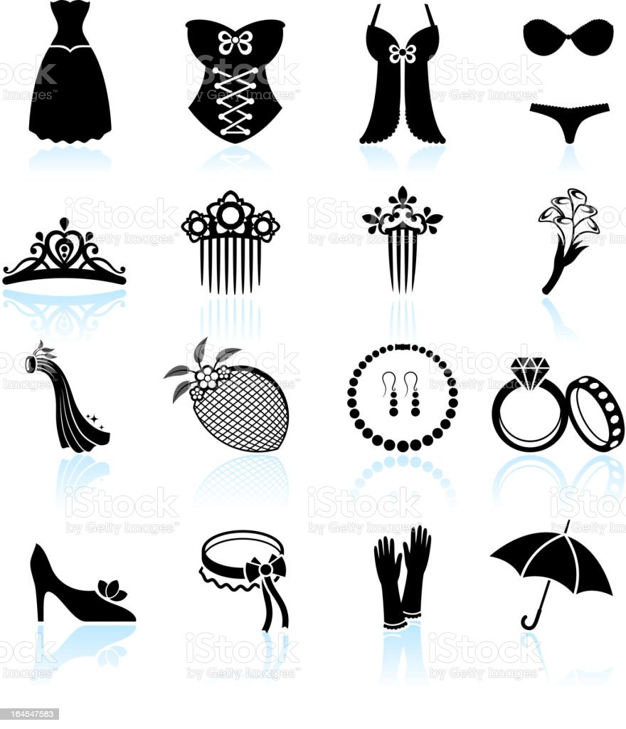 wedding dress and bridal accessories black & white icon set vector art illustration