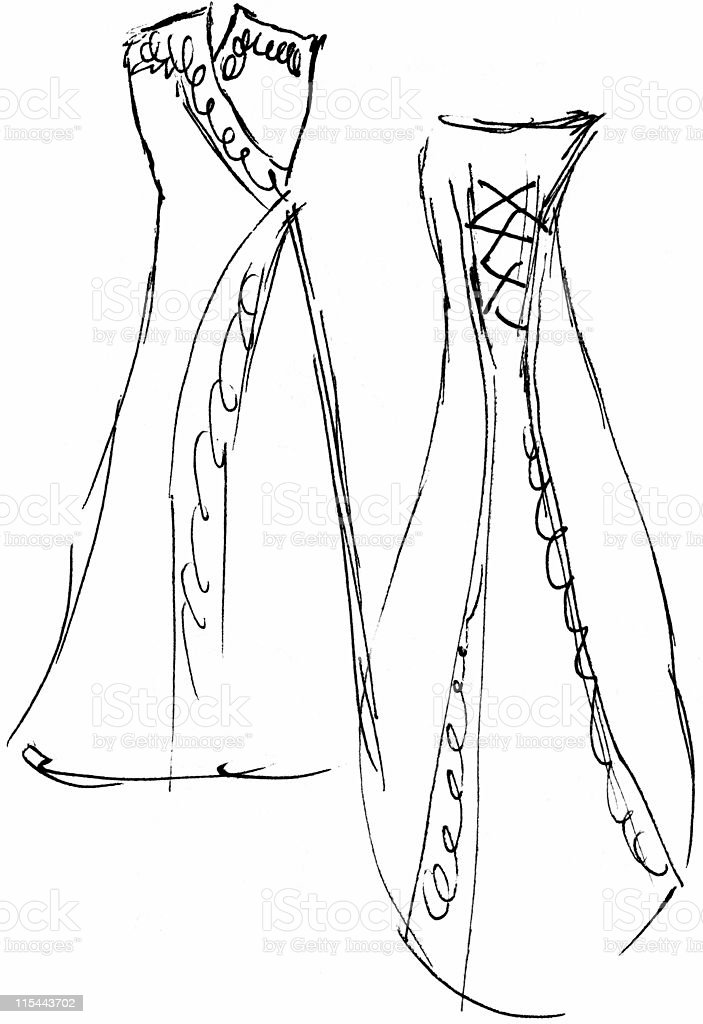 Wedding Dress Sketch 8 (front / back) - Raster vector art illustration