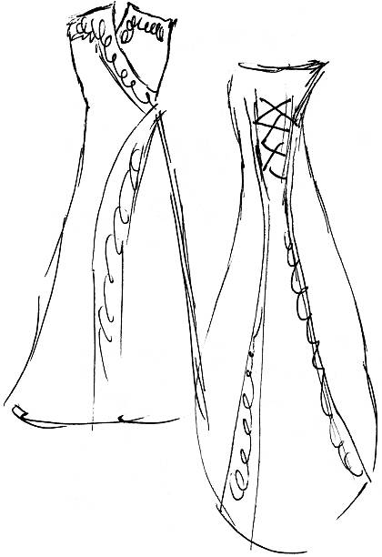 wedding dress sketch 8 (front / back) - raster - prom fashion stock illustrations, clip art, cartoons, & icons