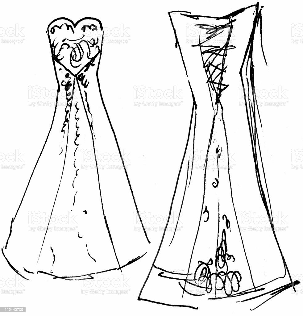 Wedding Dress Sketch 9 (front / back) - Raster vector art illustration