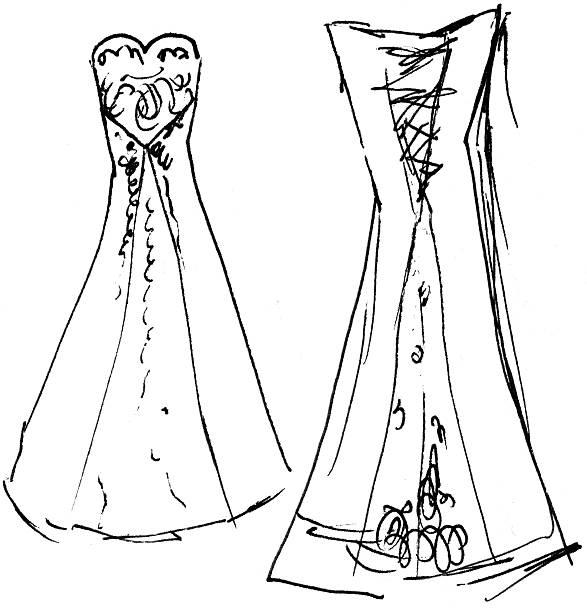 Wedding Dress Sketch 9 (front / back) - Raster vector art illustration