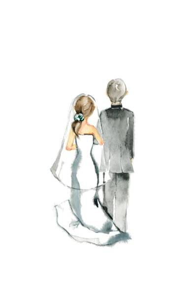Wedding Wedding The back bridegroom stock illustrations