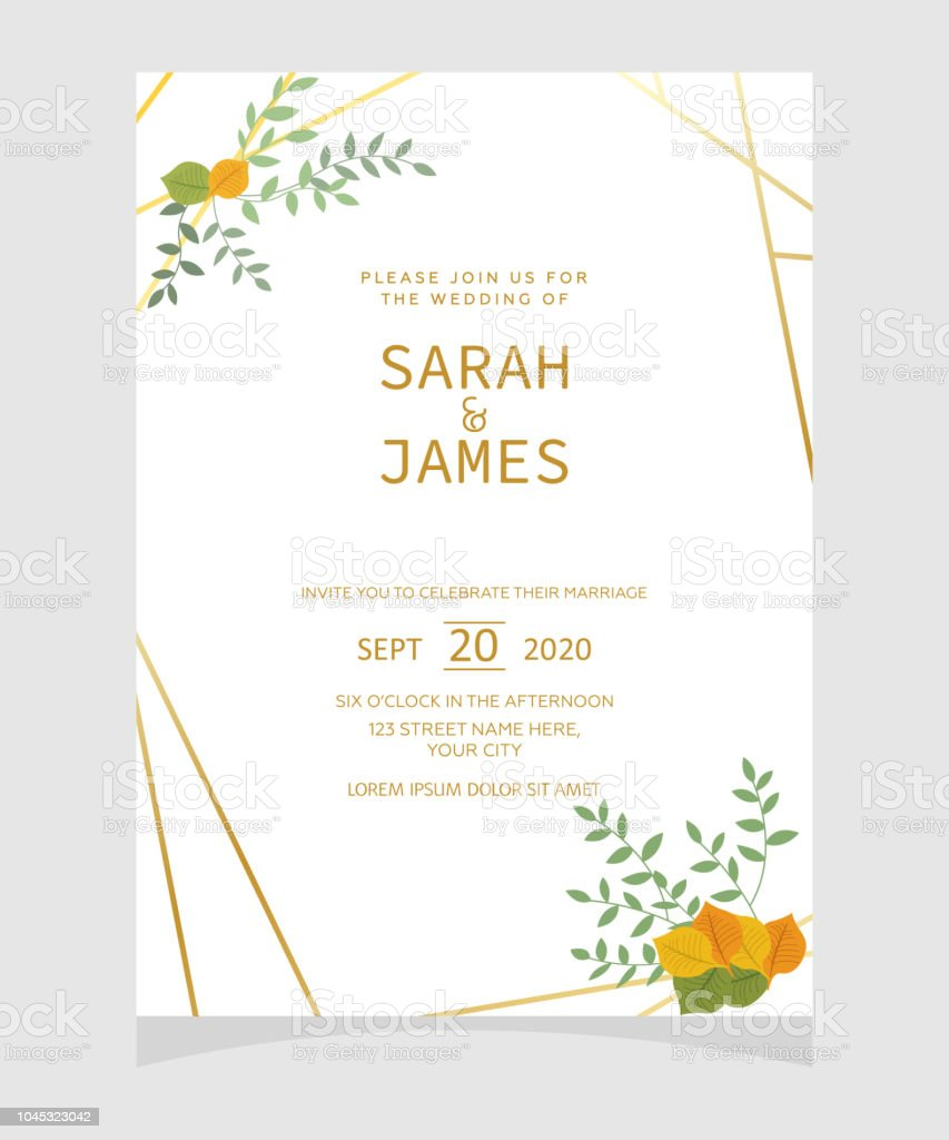 Wedding Invitation Card Template With Copper Color Flower