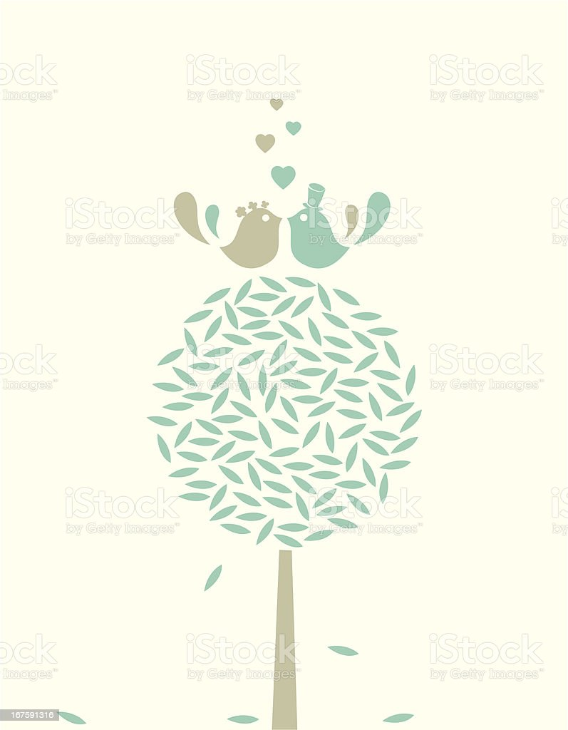 Wedding love birds on the tree royalty-free stock vector art
