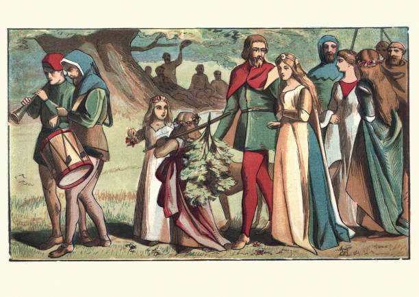 wedding of robin hood and maid marion, sherwood forest - romance stock illustrations, clip art, cartoons, & icons