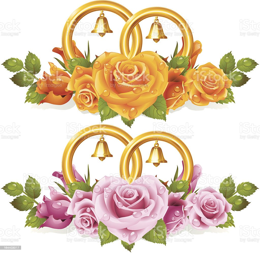 Wedding rings and bunch of roses royalty-free wedding rings and bunch of roses stock vector art & more images of abstract