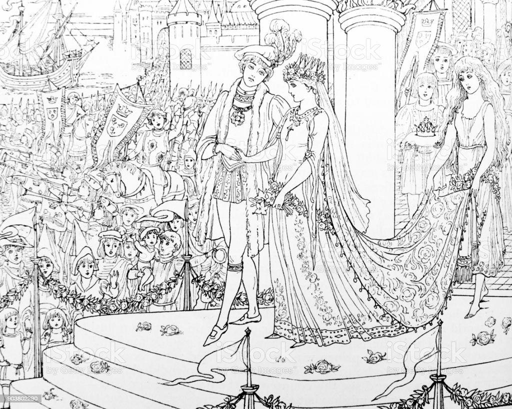Cena do casamento da pequena sereia de Andersen - ilustração de arte em vetor