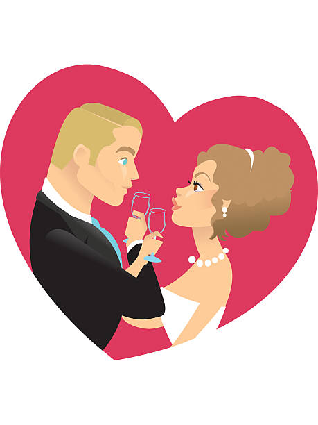 Wedding toast in color  heyheydesigns stock illustrations
