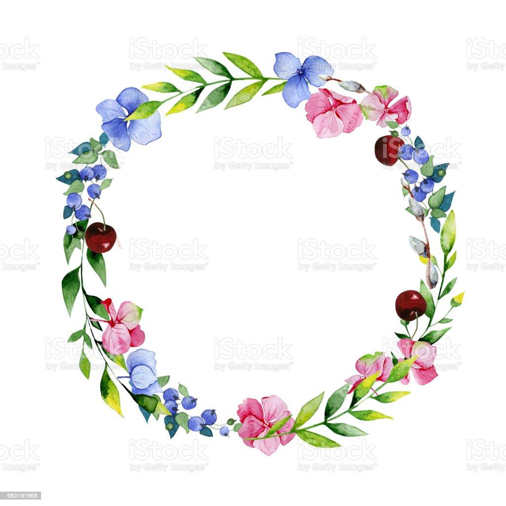 Hochzeitkranz Blaue Hortensie Blumen Rosa Hortensie Heidelbeeren Und