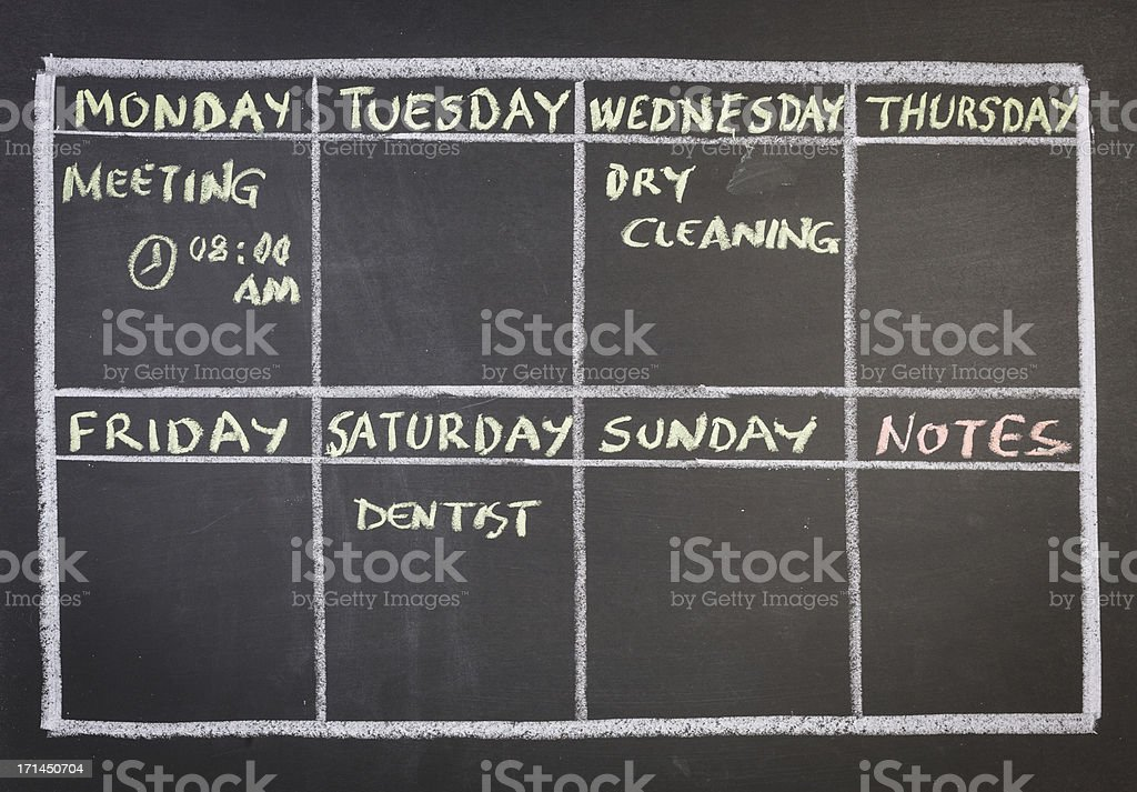 Weekly Plan on Blackboard vector art illustration