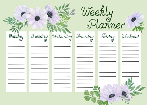 Weekly planner template watercolor floral illustration, organizer for daily plans, timetable, schedule with days of the week and copyspace, tender trendy anemone flower design