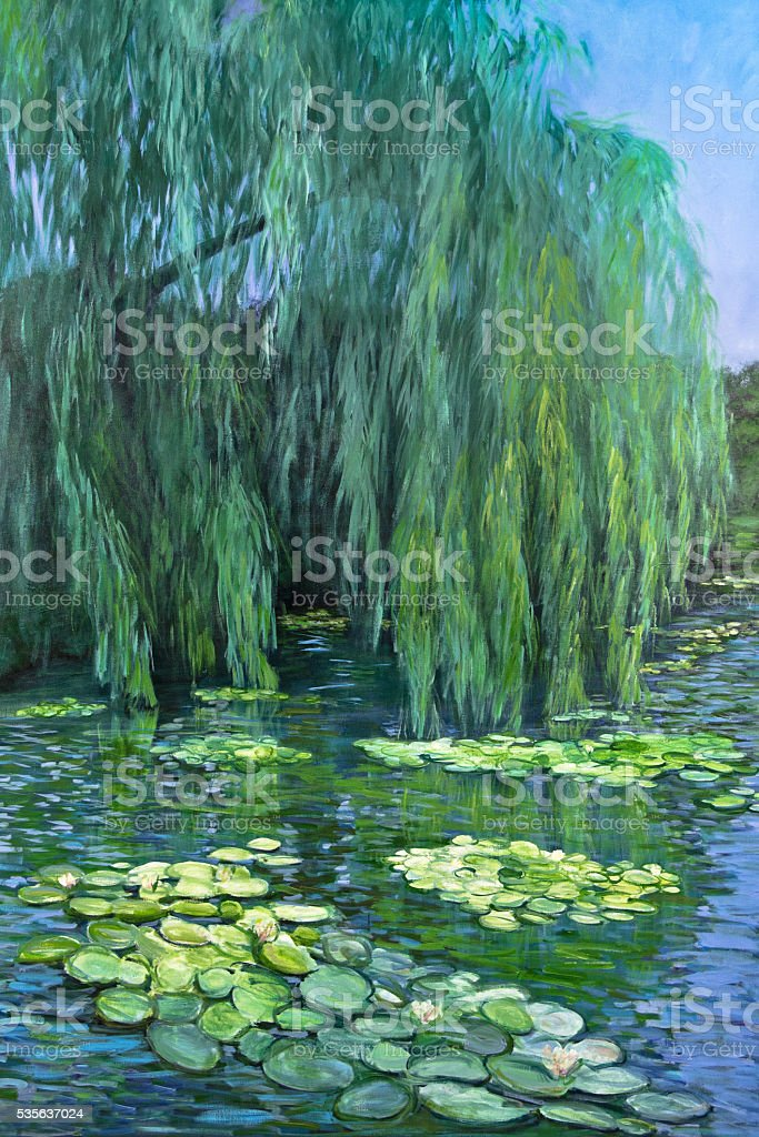 Weeping Willow at Giverny Water Lily Pond vector art illustration