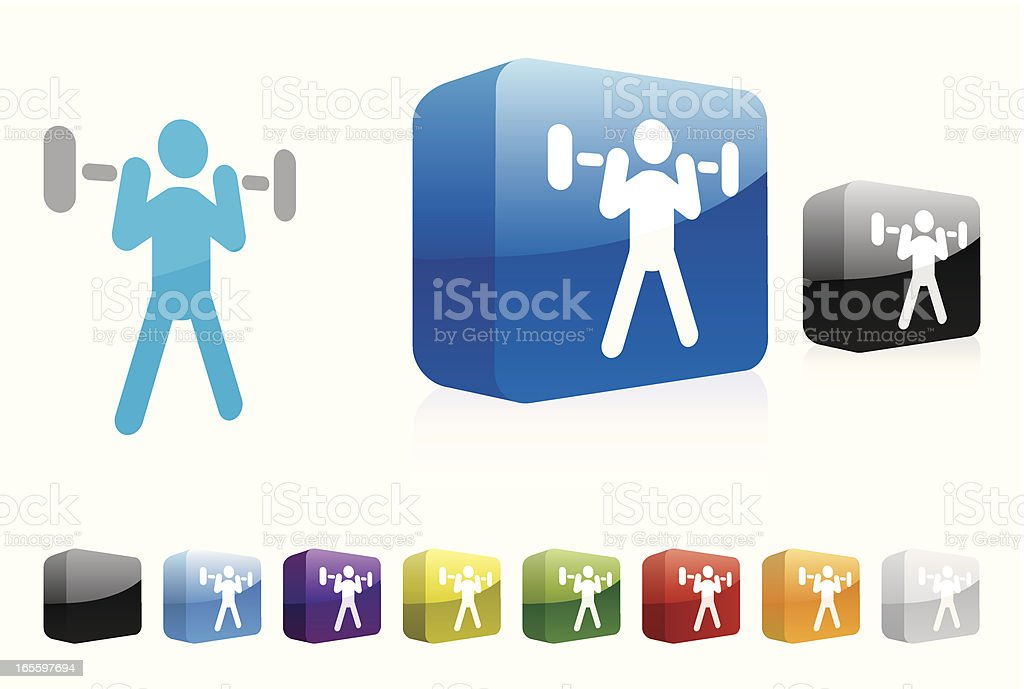 Weightlifting | 3D Collection royalty-free weightlifting 3d collection stock vector art & more images of blue
